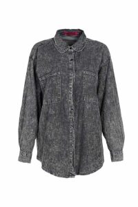 Womens Acid Wash Oversized Denim Shirt - black - M/L, Black