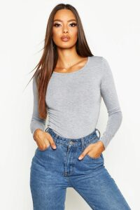 Womens Basic Round Neck Long Sleeve Top - grey - 16, Grey