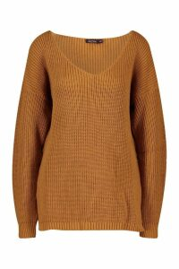 Womens Oversized V Neck Jumper - beige - M/L, Beige
