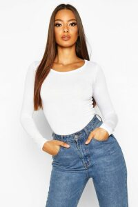 Womens Basic Round Neck Long Sleeve Top - white - 16, White