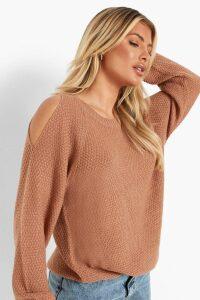 Womens Cold Shoulder Moss Stitch Jumper - Beige - M, Beige