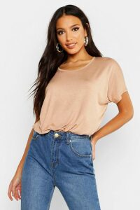 Womens Basic Oversized T-Shirt - Beige - 6, Beige