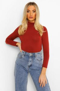 Womens Basic roll/polo neck Long Sleeve Top - orange - 16, Orange