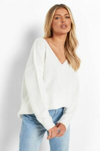 Womens Oversized V Neck Jumper - White - M/L, White