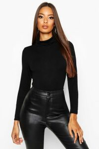 Womens Basic roll/polo neck Long Sleeve Top - black - 8, Black