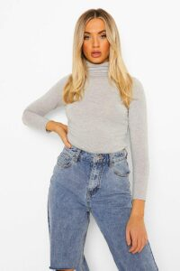 Womens Basic Roll/Polo Neck Long Sleeve Top - Grey - 12, Grey