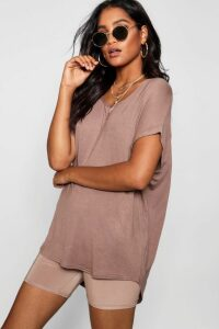 Womens Basic Oversized T-Shirt - Beige - 14, Beige