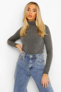 Womens Basic roll/polo neck Long Sleeve Top - grey - 10, Grey