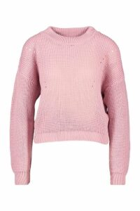 Womens Open Knit roll/polo neck Jumper - pink - M, Pink