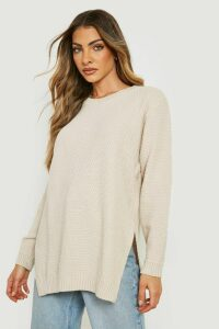 Womens Side Split Moss Stitch Tunic Jumper - Beige - M, Beige