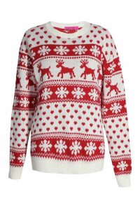 Womens Reindeer & Snowflake Christmas Jumper - white - M/L, White