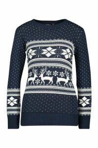 Womens Reindeer Fairisle Christmas Jumper - navy - M/L, Navy