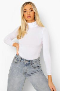 Womens Basic Roll/Polo Neck Long Sleeve Top - White - 6, White