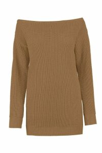 Womens Slash Neck Fisherman Jumper - beige - S/M, Beige