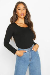 Womens Basic Round Neck Long Sleeve Top - black - 16, Black