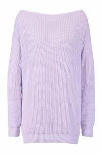 Womens Slash Neck Fisherman Jumper - purple - S/M, Purple