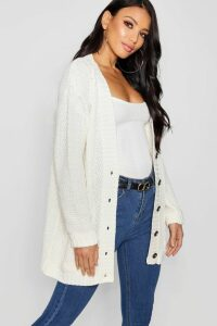 Womens Cable Boyfriend Button Up Cardigan - White - M/L, White