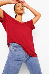 Womens Oversized Boyfriend V Neck T-Shirt - red - S/M, Red
