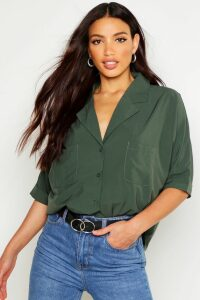 Womens Revere Collar Oversized Shirt - green - 10, Green