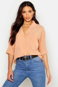 Womens Revere Collar Oversized Shirt - beige - 8, Beige