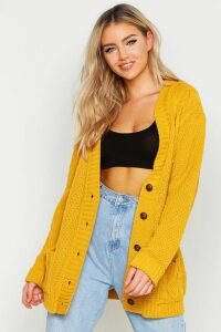 Womens Cable Boyfriend Button Up Cardigan - yellow - S/M, Yellow