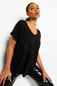 Womens Oversized Boyfriend V Neck T-Shirt - black - M/L, Black