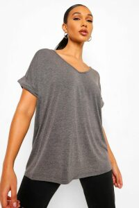 Womens Oversized Boyfriend V Neck T-Shirt - grey - S/M, Grey
