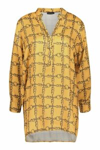 Womens Satin Chain Print Oversized Collarless Shirt - yellow - 8, Yellow