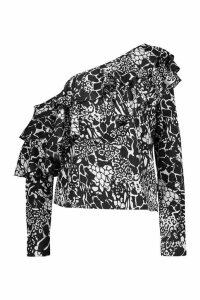 Womens Snake Printed Woven Ruffle One Shoulder Top - Black - 14, Black