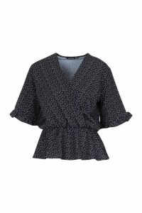Womens Woven Polka Dot Angel Sleeve Blouse - black - 6, Black