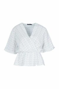 Womens Woven Polka Dot Angel Sleeve Blouse - white - 6, White