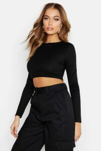 Womens Ribbed Long Sleeve Crop Top - black - 12, Black