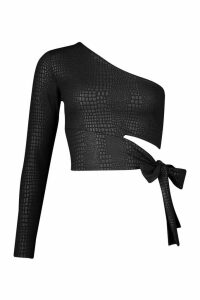 Womens Croc Cut Out One Shoulder Top - black - 12, Black