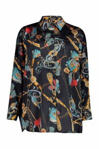Womens Satin Chain Print Oversized Shirt - black - 6, Black