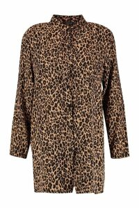 Womens Leopard Oversized Shirt - brown - 14, Brown