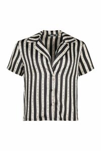 Womens Don't Look Back Stripe Revere Collar Bowling Shirt - black - 6, Black