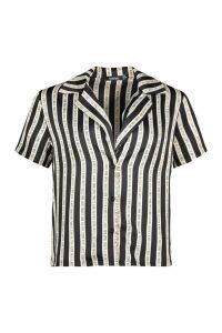 Womens Don't Look Back Stripe Revere Collar Bowling Shirt - black - 12, Black