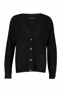 Womens Fisherman Knit Button Through Cardigan - black - M, Black