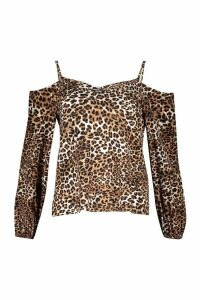 Womens Leopard Print Cold Shoulder Long Sleeve Top - brown - 8, Brown