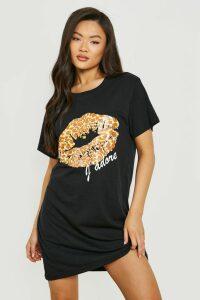 Womens Leopard Print Lips T-Shirt Dress - Black - 16, Black