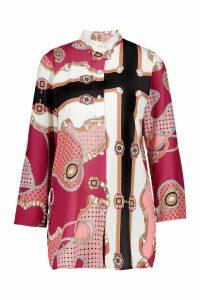 Womens Woven Button Through Chain Print Shirt - Pink - 8, Pink