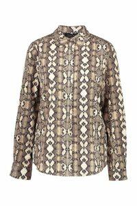 Womens Snake Print Oversized Shirt - beige - XS, Beige