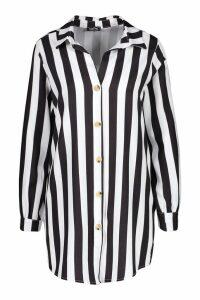 Womens Woven Longline Shirt - black - 8, Black