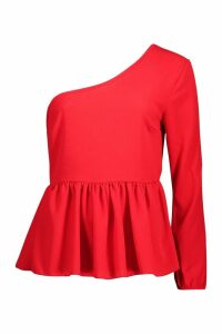 Womens Woven One Shoulder Peplum - red - 8, Red