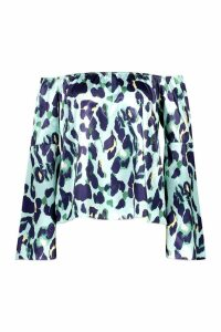 Womens Woven Leopard Off The Shoulder Top - green - 6, Green