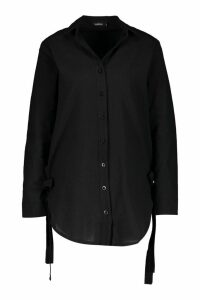 Womens Oversized Longline Tie Side Linen Look Shirt - black - 8, Black