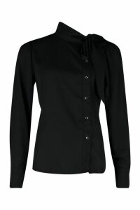 Womens Woven Pussybow Button Detail Blouse - black - 14, Black