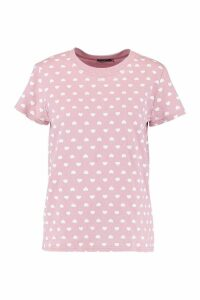 Womens Love Heart Repeat Print T-Shirt - Pink - XL, Pink