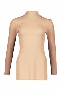 Womens Side Split Rib Tunic Top - beige - 14, Beige
