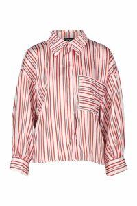 Womens Satin Stripe Pocket Oversized Shirt - white - 12, White